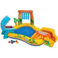 Надувной игровой центр Динозавр 57444, INTEX, водопад/горка, 6 шариков для развлечений, 249*191см
