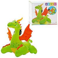Надувной Дракон Intex 57526, 2 ручки, 140*69см, винил, разноцветный, с крыльями