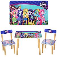 Детский столик для рисования Пони 501-9-2, два стула, деревянные ножки, столешница и сидения из МДФ