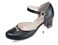 Босоножки женские кожаные на устойчивом каблуке МИДА