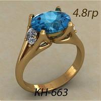 Стильное золотое женское кольцо 585 * с камнем по середине