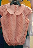 Детская блузка на лето в горошек (персик)