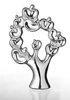 Декоративная статуэтка из керамики Дерево с райскими яблоками   в романтичном стиле посеребренная.