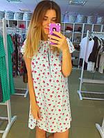 Голубое летнее платье с красными сердечками