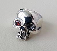 Череп Красный глаз байкерский серебряный перстень, срібний череп перстень печатка каблучка