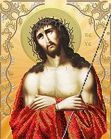 """Схема для вышивки бисером на атласе икона """"Иисус в терновом венце"""""""