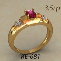 Интересное женское золотое колечко 585 пробы с камнем по центру