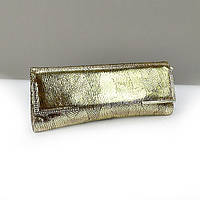 Кожаная золотистая сумочка клатч женская змея