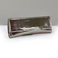 Кожаная серебристая сумочка клатч женская №50386sil