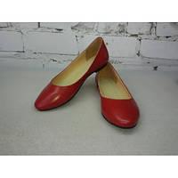 Кожаные балетки из красной кожи