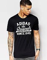 """Футболка """" Adidas"""" Адидас Ориджинал чёрная белый принт"""