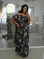 Летнее цветное платье в пол с воланами с открытыми плечами разные цвета