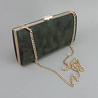 Зеленая замшевая сумочка женский вечерний клатч