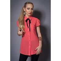 Блуза шифоновая с бантом коралловая