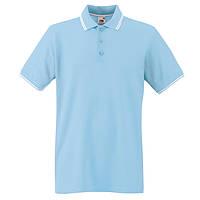 Голубое поло с белой окантовкой Premium
