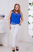 Красивая летняя женская блузка с перфорацией без рукавов креп шифон батал