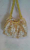 Сумка женская летняя тканевая, золотисто- желтая с цветами