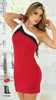 Платье Молодёжное на одно плечо красное