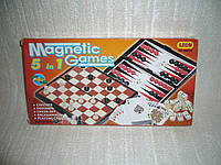 Настольные игры на магнитах - шашки, шахматы... 5 в 1