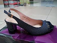 Женские босоножки на каблуке из натуральной кожи,синие ТМ FOLETTI