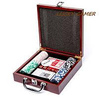 Набор для игры в покер в деревянной коробке 100 фишек с номиналом WS-1