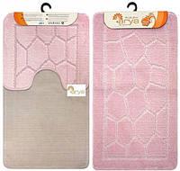 Набор ковриков для ванной и туалета  Arya  Моно 1147 розовый