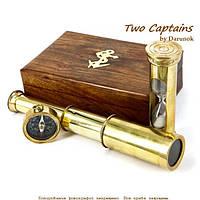 Подарочный набор подзорная труба компас песочные часы James Cook NTS5258