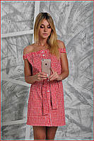 Платье открытые плечи красное