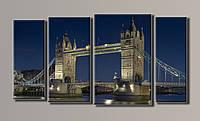 """Модульная картина на холсте из 4-х частей """"Тауэрский мост в Лондоне"""""""