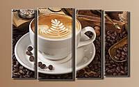 """Модульная картина на холсте из 4-х частей """"Кофе в зёрнах"""""""