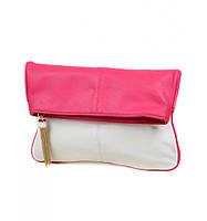 Женская сумка клатч белая с малиновым