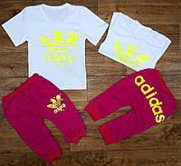 """Летний детский костюм с бриджами """"Adidas"""", рост от 86 до 116 см"""