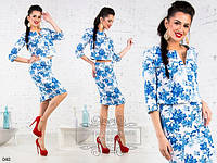 Женский костюм юбка + жакет лен в цветы размеры 42 44