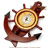Часы настенные из дерева в форме якоря 1024-818A