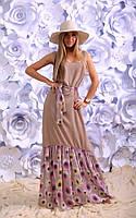 """Длинное летнее платье-сарафан """"Dariana"""" с шифоновой оборкой в цветочек (4 цвета)"""