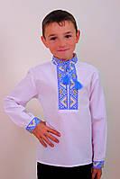 """Вышиванка детская """"Майкл"""" (синий и красный) ткань поплин"""