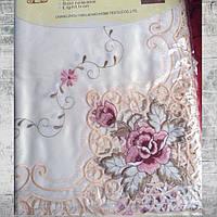 Скатерть атласная с машинной вышивкой цветок Alltex