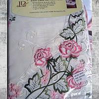 Скатерть атласная с машинной вышивкой роза Alltex