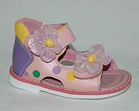 Детская обувь босоножки Шалунишка арт.100-224 роз горохи-цветы (Размеры: 20-25)