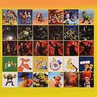 Блокнот с наклейками (истории игрушек, черепашки ниндзя, пираты карибского м оря, симпсоны) по 6 шт.