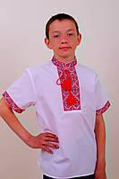 """Вышиванка детская """"Федор"""" (красный и синий) ткань поплин, короткий рукав"""
