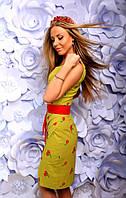 """Летнее платье-футляр без рукавов """"Cherry"""" с вышивкой и контрастным поясом (5 цветов)"""