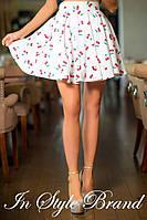 """Белая коттоновая юбка принт """"вишня"""", фатиновый подъюбник. Арт-5577/56"""
