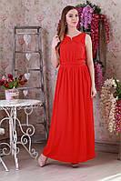 Красное платье без рукавом с пришивным декором
