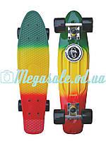 Скейтборд/скейт Penny Board Fades Градиент/Мультиколор (Пенни борд): Rasta, нагрузка до 80кг