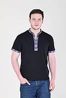 Молодежная мужская футболка вышиванка черного цвета с ярким орнаментом