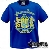 Футболка з великим гербом синя