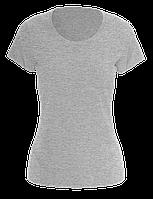 Футболка женская хлопковая, цвет - серый меланж