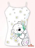 """Майка для девочки   """"Мишка с цветами"""", размер 8/9"""