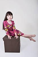 Праздничное детское платье для девочки с вышитым цветочным букетом